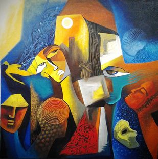 Ephemeral Reality by Antra Srivastava, Expressionism Painting, Acrylic on Canvas, Equator color