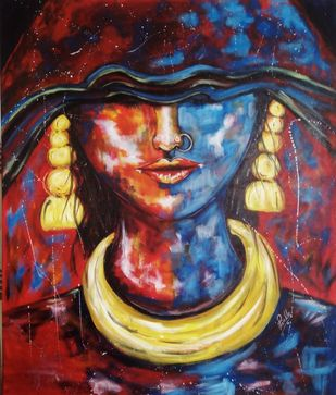 """Fire and Ice"", The rage and calm of a woman under the duties of her veil. by Prinkle Mehta, Expressionism Painting, Acrylic on Canvas, Whiskey color"