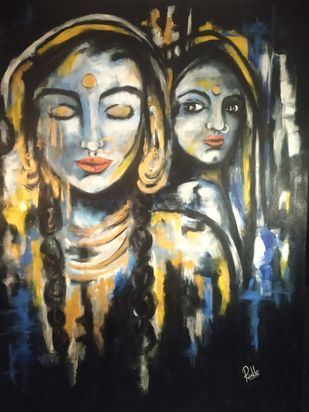 Envy by Prinkle Mehta, Expressionism Painting, Acrylic & Graphite on Canvas, Pavlova color