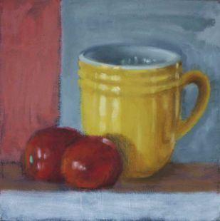 My 'Starbucks' Mug by Hans Shinde, Impressionism Painting, Oil on Canvas, Roman Coffee color