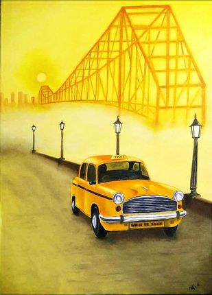 Kolkata Dreams by Murad, Expressionism Painting, Oil on Canvas, Sunflower color