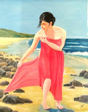 An Afternoon Dip by Murad, Expressionism Painting, Oil on Canvas, Moon Mist color