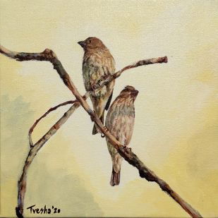 Rosefinches at sunrise II by Tvesha Singh, Expressionism Painting, Acrylic on Canvas, Yuma color