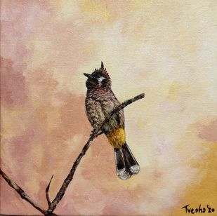 Himalayan Bulbul Perches on Treetop by Tvesha Singh, Expressionism Painting, Acrylic on Canvas, Rodeo Dust color