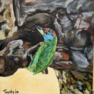 Blue-throated barbet inspects a tree hollow by Tvesha Singh, Expressionism Painting, Acrylic on Canvas, Armadillo color