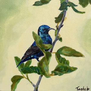 Purple sunbird perches for an instant by Tvesha Singh, Expressionism Painting, Acrylic on Canvas, Tom Thumb color
