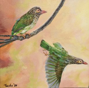 brown headed barbet takes wing by Tvesha Singh, Expressionism Painting, Acrylic on Canvas, Straw color