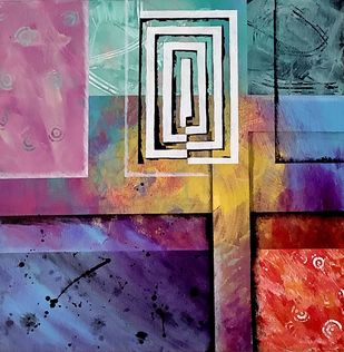 Maze by Rishail , Geometrical Painting, Acrylic on Canvas, Rum color
