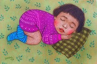 LULLABY by Meena Laishram, Expressionism Painting, Dry Pastel on Paper, Gurkha color