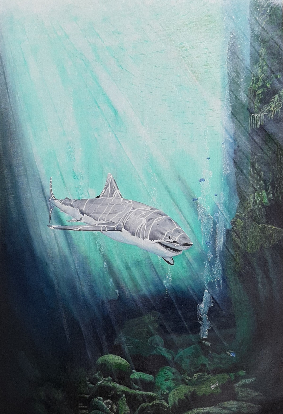 """""""SHARK"""" by Hubert Francis DMoss, Expressionism Painting, Oil and acrylic on Canvas, Opal color"""