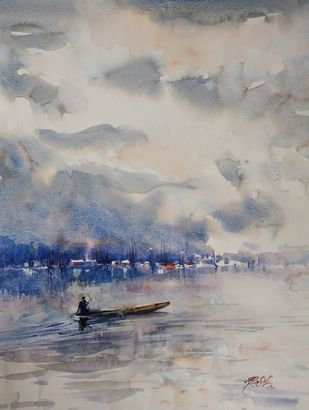 Dal lake by Javid Iqbal, Impressionism Painting, Watercolor and charcoal on paper, Cloudy color