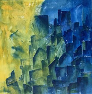 Abstract-Cityscape by Amit Pithadia, Abstract Painting, Acrylic on Canvas, Celery color