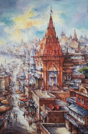 Top view of Varanasi -1 by Shubhashis Mandal, Impressionism Painting, Watercolor on Paper, Shady Lady color