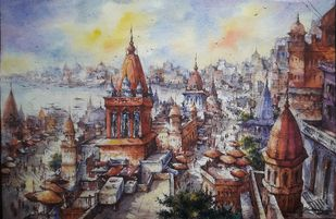 Top view of Varanasi-2 by Shubhashis Mandal, Impressionism Painting, Watercolor on Paper, Dusty Gray color