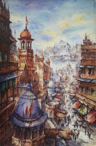 Top view of Varanasi-3 by Shubhashis Mandal, Impressionism Painting, Watercolor on Paper, Delta color