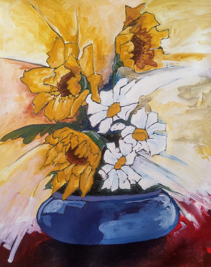 Flowers 2 by DEB SANJOY DUTTA, Expressionism Painting, Acrylic on Canvas, Blackcurrant color
