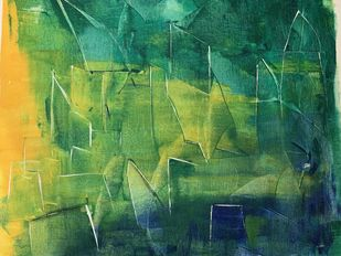Abstract Cityscape by Amit Pithadia, Abstract Painting, Acrylic on Canvas, Killarney color