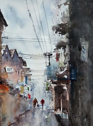 After rains by Javid Iqbal, Impressionism Painting, Watercolor and charcoal on paper, Silver Sand color