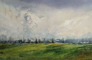 Meadow by Javid Iqbal, Impressionism Painting, Watercolor and charcoal on paper, Cloudy color