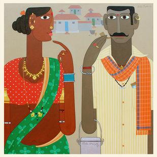 Telangana couple 5 by Kandi Narsimlu, Expressionism Painting, Acrylic on Canvas, Chino color