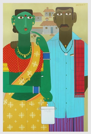 Telangana couple 6 by Kandi Narsimlu, Expressionism Painting, Acrylic on Canvas, Jet Stream color