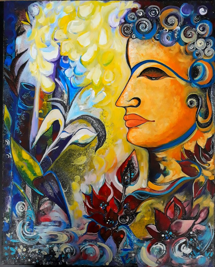 The light of wisdom by Reena Tomar, Expressionism Painting, Acrylic & Ink on Canvas, Tuna color