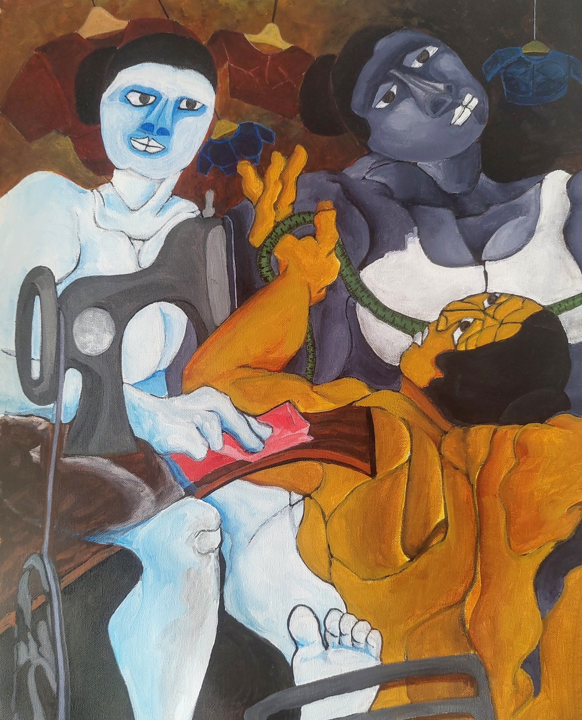 Ladies tailor by DEB SANJOY DUTTA, Expressionism Painting, Acrylic on Canvas, Kabul color