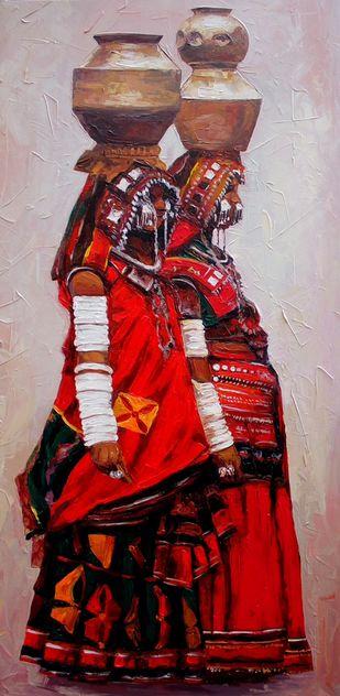 Lambadi by Iruvan Karunakaran, Expressionism Painting, Acrylic on Canvas, Tamarind color