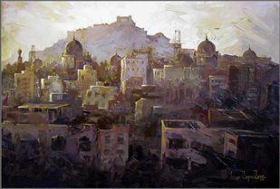 Golkonda Fort_01 by Iruvan Karunakaran, Expressionism Painting, Acrylic on Canvas, Timberwolf color