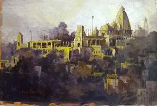 Birla Mandir Hydrabad 01 by Iruvan Karunakaran, Expressionism Painting, Acrylic on Canvas, Moon Mist color