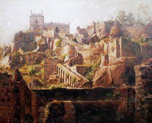 Golkonda Fort by Iruvan Karunakaran, Expressionism Painting, Acrylic on Canvas, Roman Coffee color