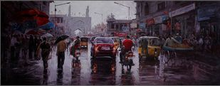 Hydrabad Wet Street by Iruvan Karunakaran, Expressionism Painting, Acrylic on Canvas, Lola color