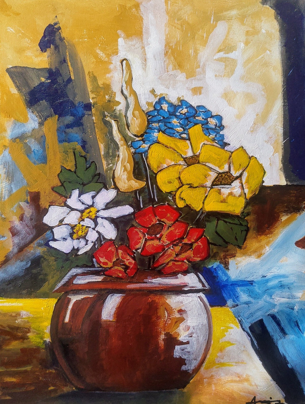 Still life with flowers by DEB SANJOY DUTTA, Expressionism Painting, Acrylic on Canvas, Tuna color