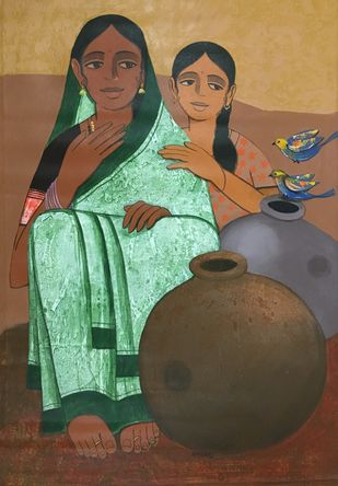 Mother And Daughter by Nagesh Ghodke, Expressionism Painting, Acrylic on Canvas, Tobacco Brown color