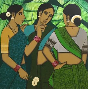 Friends Gossip by Nagesh Ghodke, Expressionism Painting, Acrylic on Canvas, Teak color