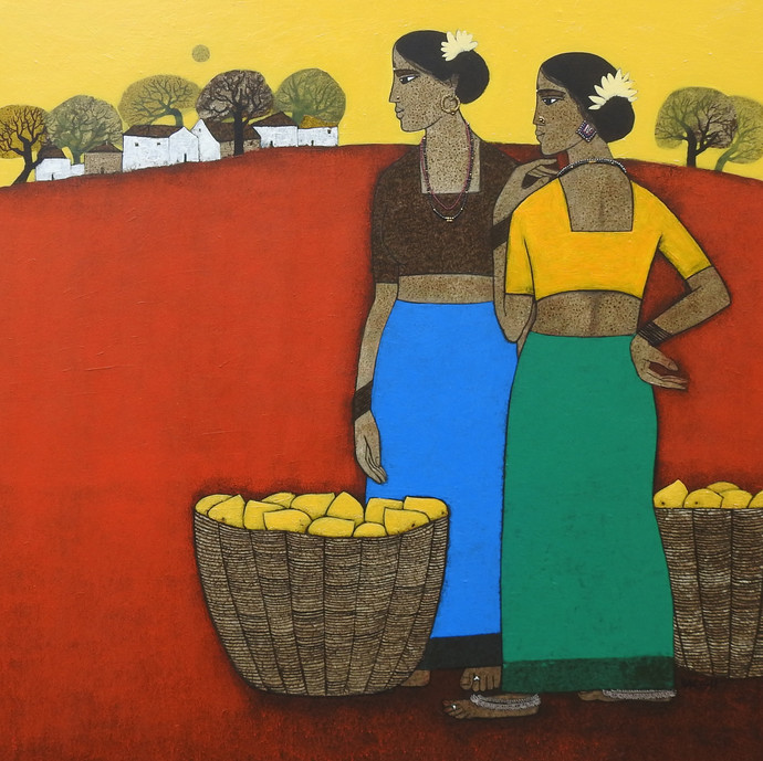 Fruit Seller by Nagesh Ghodke, Expressionism Painting, Acrylic on Canvas, Paarl color