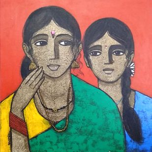 Mother and Daughter by Nagesh Ghodke, Expressionism Painting, Acrylic on Canvas, Genoa color