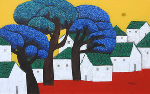Villagescape by Nagesh Ghodke, Geometrical Painting, Acrylic on Canvas, Pickled Bluewood color