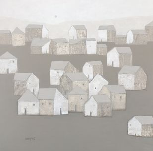 Villagescape by Nagesh Ghodke, Geometrical Painting, Acrylic on Canvas, Tide color