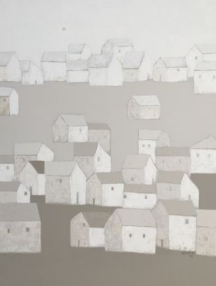 Villagescape by Nagesh Ghodke, Geometrical Painting, Acrylic on Canvas, Cloud color