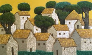Villagescape by Nagesh Ghodke, Geometrical Painting, Acrylic on Canvas, Domino color