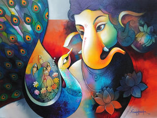 Ganesha 5 by Sanjay Tandekar, Decorative Painting, Acrylic on Canvas, Pickled Bluewood color
