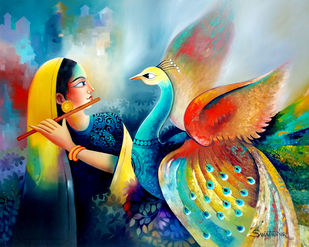 Enchant 6 by Sanjay Tandekar, Expressionism Painting, Oil on Canvas, Eagle color