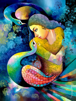 Fantasy of beauty 2 by Sanjay Tandekar, Fantasy Painting, Acrylic on Canvas, Whiskey color