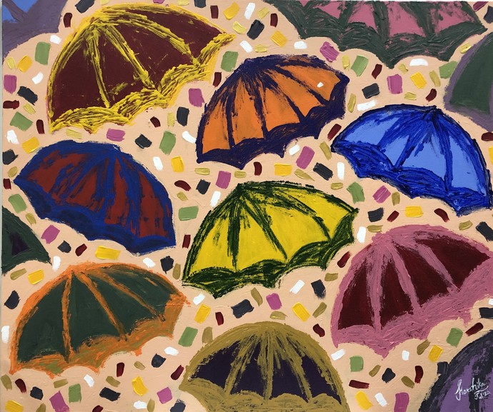 If it rained confetti by Harshika Nargotra, Expressionism Painting, Acrylic on Canvas, Charade color