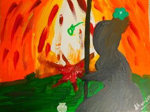 AGNI by Chandra Tatvaraj, Abstract Painting, Acrylic & Graphite on Canvas, Mallard color