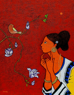 Girl with Bird by Deepali S, Expressionism Painting, Acrylic on Canvas, Tamarillo color