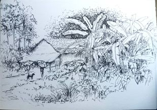 A village tea stall by Munmun, Impressionism Drawing, Pen on Paper, Geyser color