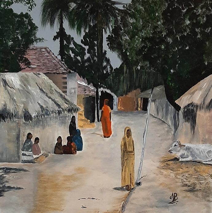 Village 04 Digital Print by Tejal Bhagat,Impressionism