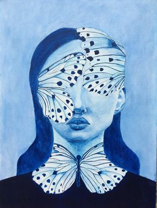 Metamorphosis by Pallavi Donni, Expressionism Painting, Acrylic on Canvas, Regent St Blue color